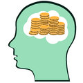 Thinking brain money mind a concept showing a head about Stock Image