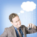 Thinking business man with cloud computer idea up copyspace raining technology code coding concept Royalty Free Stock Photography