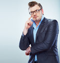 Thinking business man funny portrait isolated male model Royalty Free Stock Image