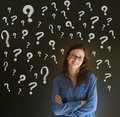 Thinking business woman chalk questions marks blackboard background Royalty Free Stock Image