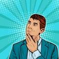 Thinking businessman. Vector illustration in pop art retro comic style Royalty Free Stock Photo