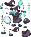 Thinking cartoon Halloween witch character with different body parts and expressions