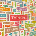 Thinking concept related words in tag cloud conceptual info text graphic word collage Royalty Free Stock Image