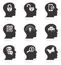 Thinking head silhouette icons set in two colors Stock Photography
