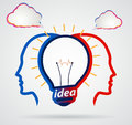 Thinking head with speech clouds unity of thought a new idea partnership illustration Royalty Free Stock Photo