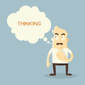Thinking man cartoon on bule background Stock Image