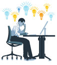 Thinking man with lightbulbs light bulbs floating above a sat at his desk concentrating on finding work solutions Stock Images