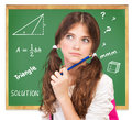 Thinking about mathematics task closeup portrait of cute teen girl thoughtful facial expression try to solve hard knowledge and Royalty Free Stock Image