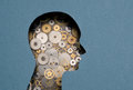 Thinking mechanism human head with gears inside Royalty Free Stock Photography