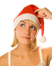 Thinking Mrs. Santa Royalty Free Stock Images