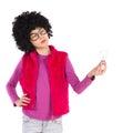 Thinking nerdy girl holding a light bulb Royalty Free Stock Photo