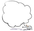 Thinking nouse cute cartoon mouse with thought bubble Stock Photos