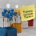 Thinking outside the box on sticky note and pencil lightbilb as creative crumpled paper Stock Images