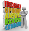 Thinking Person Feedback Comment Opinion Stock Photos