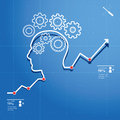 Thinking process head and brain gears in progress chart concept of human Stock Photo