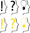 Thinking silhouettes three with question mark exclamation mark and bulb two version available first in black and second with black Royalty Free Stock Images