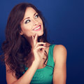 Thinking success beautiful brunette woman with finger under face Royalty Free Stock Photo
