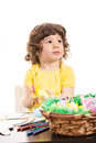 Thinking toddler looking away Royalty Free Stock Photo