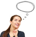 Thinking woman with bubble speech above head isolated on white background Stock Photography