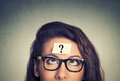 Thinking woman with question mark Royalty Free Stock Photo