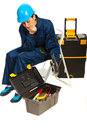 Thinking worker woman with tools box Stock Photo