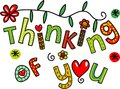 Thinking of You Doodle Text Expression Royalty Free Stock Photo