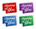 Thinking of you stikers. Stock Photo
