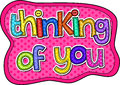 Thinking of You Stitch Text Royalty Free Stock Photo