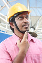 Thinking young Indian Architect Stock Images