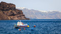 Thirasia island santorini greece europe boat moored at Stock Image
