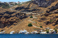 Thirasia island santorini greece europe the port and beach at Stock Photo