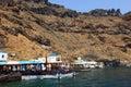 Thirasia island santorini greece europe the port and beach at Stock Image