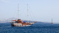Thirasia island santorini greece europe tourist boat at Stock Photos