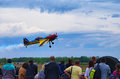 Third AirFestival at Chaika airfield. The plane flies very close to the audience, who watched the performance of the pilot