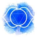 Third eye Ajna chakra line art on blue watercolor