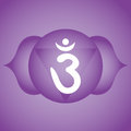 Third eye chakra ajna symbol on indigo background Royalty Free Stock Images