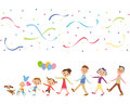 Third generation good friend family i go out in families on a holiday Royalty Free Stock Image