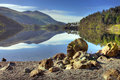 Thirlmere looking towards helvellyn mountain over lake district cumbria england Stock Image