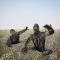 Thirst illustration depicting two human shaped dried bushes coming out of a dry terrain symbolizing and drought Royalty Free Stock Photos