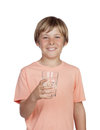 Thirsty adolescent with water for drink isolated on white background Royalty Free Stock Photo
