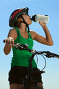 Thirsty bicyclist Stock Photography