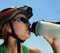 Thirsty bycicler, close-up portrait Stock Photo