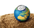 Thirsty planet concept earth on dry soil sand water shortage Stock Photos