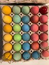 Thirty colorful Easter eggs. happy Easter.