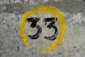 Thirty three grungy hand painted number Royalty Free Stock Image
