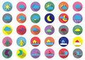 Thirty weather colorful flat icons
