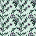 Vector seamless pattern with thistle