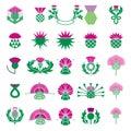 Thistle Flower Icon Set. Thistle Floral Emblem.