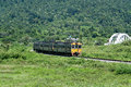 Thn diesel railcar for train no at tha chom phu white bridge free ticket train from nakhonsawan to chiangmai Stock Image