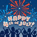 Retro Happy 4th of July design with family watching fireworks. Royalty Free Stock Photo